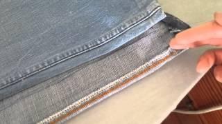 getlinkyoutube.com-Estrechando pantalón vaquero antiguo parte 1
