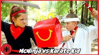 Ninja McNinja vs Karate Kid: 9 TRIALS OF FIRE McDonald's Happy Meal Hope and Annie SuperHero Kids