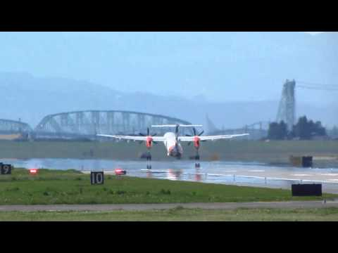 Alaska Airlines Bombardier Q400 With The Oregon State University Paint Job Takes Off From PDX On Run