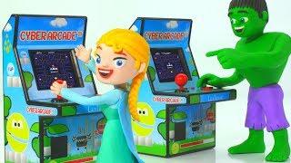 FROZEN ELSA & HULK PLAY VIDEO GAMES ❤ Spiderman, Hulk & Frozen Play Doh Cartoons For Kids