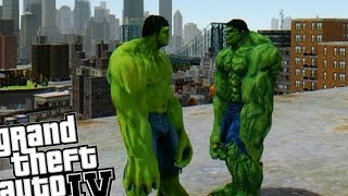 getlinkyoutube.com-NEW HULK VS OLD HULK - AWESOME BATTLE (Grand Theft Auto IV Hulk Mod)
