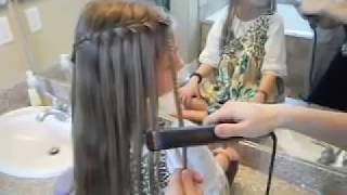 getlinkyoutube.com-Waterfall French Braid | Crimped Strands | Cute Girls Hairstyles