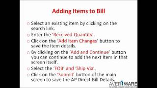 Averiware Accounts Payable Direct Bill