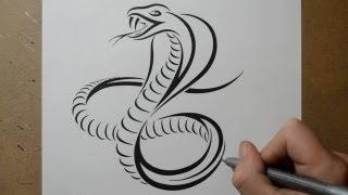 getlinkyoutube.com-How to Draw a Cobra Snake - Tribal Tattoo Design Style