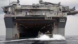 getlinkyoutube.com-AAV7水陸両用装甲車をキャンプ・シュワブから強襲揚陸艦に積み込む