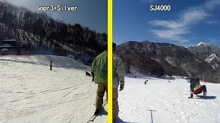 getlinkyoutube.com-Gopro3+Silver VS SJ4000 Ski sunny 晴天のスキー場 TEST in冶部坂高原 Part3/3