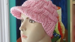 getlinkyoutube.com-Gorro  con visera tejido a dos agujas  en Homenaje a la lucha contra el cáncer de mama