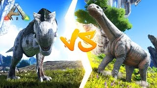 getlinkyoutube.com-Ark Survival Evolved - TREX VS PARACER! Ark Survival Evolved Dino Battles!