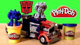 getlinkyoutube.com-Play Doh Transformers Rescue Bots Optimus Prime Playset Play Dough Dark of the Moon Make Bumblebee