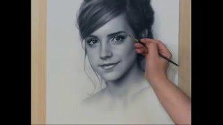 getlinkyoutube.com-Speed Drawing Portrait Emma Watson. Рисование портрета Сухая кисть