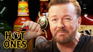 getlinkyoutube.com-Ricky Gervais Pits His Mild British Palate Against Spicy Wings | Hot Ones