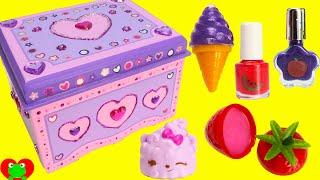 getlinkyoutube.com-DIY Treasure Box by Melissa and Doug Lisa Frank Lip Balms Shopkins and More