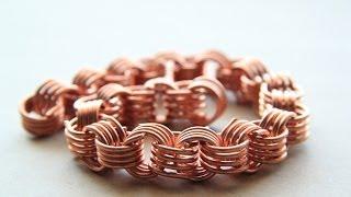 """Как сделать """"золотую"""" цепочку из медной проволоки. How to make """"gold"""" chain of copper wire"""