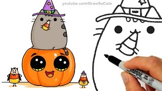 getlinkyoutube.com-How to Draw Pusheen Cat on Pumpkin with Candy Corn step by step Easy -Halloween