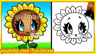 getlinkyoutube.com-Easy Things to Draw - How to Draw a Sun Flower - Fun2draw Art Lesson