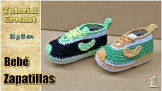 getlinkyoutube.com-Zapatitos para bebé a crochet, talle 10 y 11 cm - Paso a paso - 1de2