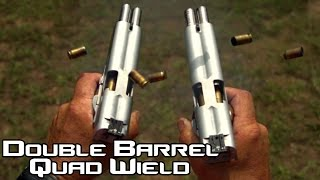 getlinkyoutube.com-Double Barreled 1911 pistol quad wield rapid fire! 20 rounds in 1.5 seconds in SlowMo| AF2011 (4K)