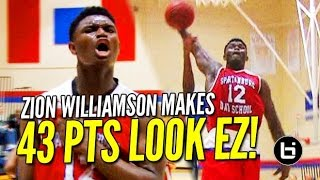 getlinkyoutube.com-Zion Williamson Makes 43 Points Look EASY! Raw Game Highlights!