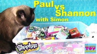 getlinkyoutube.com-Paul vs Shannon with Simon Blind Bag Opening | Shopkins Moofia Disney | PSToyReviews