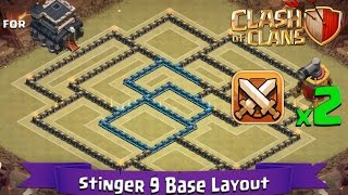 getlinkyoutube.com-Clash Of Clans: TH9 | BEST Clan War Base Layout (2 x Air Sweepers) - Stinger 9