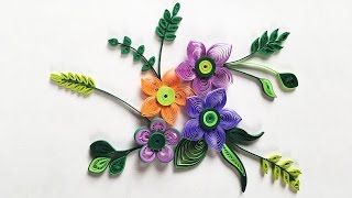 getlinkyoutube.com-How To Make Small Paper Flower With Paper Strips   Quilling Made Easy