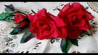 getlinkyoutube.com-Три розы из ткани без инструментов