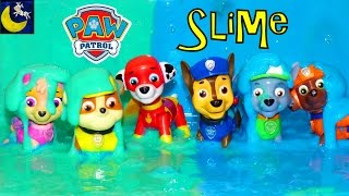 getlinkyoutube.com-Paw Patrol Super Heroes Pup Toys Make SLIME Putty Surprise Chase Marshall Rocky Rubble Skye Toys!