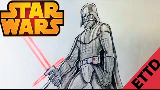 getlinkyoutube.com-How to Draw Darth Vader from Star Wars - Easy Things To Draw