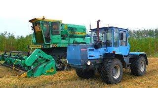 getlinkyoutube.com-143-Д.Дождь на уборке.Еду на Т-150К-09-25 к комбайну ДОН-1500Б для подкачки колеса