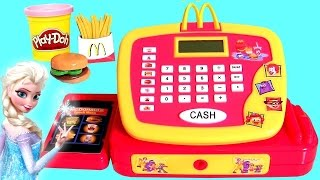 getlinkyoutube.com-McDonalds Cash Register Toy Happy Meal Toys & Play Doh Surprise Eggs for Queen Elsa Disney Frozen