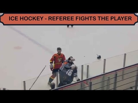 Ice Hockey - Referee fights player