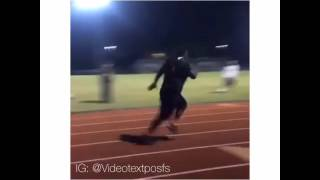 Fat guy running fast on track vine