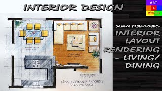getlinkyoutube.com-Manual Rendering | 2D Interior Design Layout | Drawing | Tutorial Demo | Watercolour | Techniques