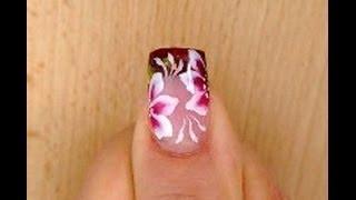 getlinkyoutube.com-Ricostruzione con gel. french colorato con scaglie di madreperla+ micropittura fiore semplice