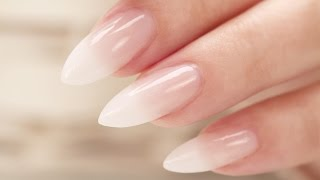 getlinkyoutube.com-French Fade / Baby Boomer Almond Acrylic Nails - Three Color Fade