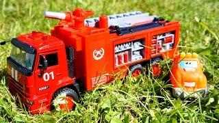 getlinkyoutube.com-Мультики про машинки: Чак и его друзья! ПОЖАР - Тушение пожара! Мультик про Пожарную машину!