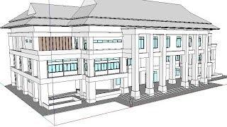getlinkyoutube.com-SketchUp 2013 Tutorials part 1/6: How to model 1st floor,column,walls, and stair