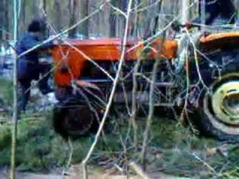 Zrywka drewna w lesie ciągnikiem Ursus C 360.
