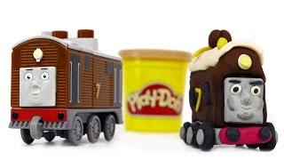 getlinkyoutube.com-Play Doh Train Toby we make from PlayDough Thomas and Friends Train Toys