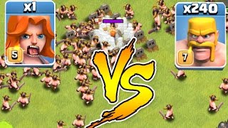 getlinkyoutube.com-Clash Of Clans - 240 MEN Vs. 1 VALKYRIE!!! Glitch?!? (Troll Raids)