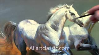 "getlinkyoutube.com-HD Video of Oil Painting ""Running Horses"""