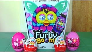 getlinkyoutube.com-Furby Boom Hello Kitty Surprise Eggs Kinder Joy Surprise Eggs, Furby Boom Eats Kinder Surprise Egg