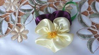 getlinkyoutube.com-Цветы из лент мастер класс Анютины глазки просто быстро красиво