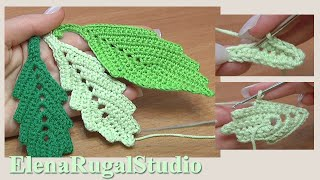 getlinkyoutube.com-How To Crochet Two-Side Leaf With Chain Spaces In The Middle Tutorial 1