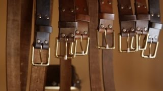 getlinkyoutube.com-Leather craft. Making a leather belt by John Neeman Tools