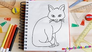 getlinkyoutube.com-How to draw a Cat - Easy step-by-step drawing lessons for kids