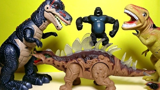 getlinkyoutube.com-New Walking Dinosaurs Light And Sound Toys T Rex Stegosaurus - Gorilla Skull Island?