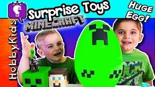 getlinkyoutube.com-Minecraft MEGA EGG Play-Doh Surprise! Creeper Explosion + Blind Boxes Series 1 HobbyKidsTV