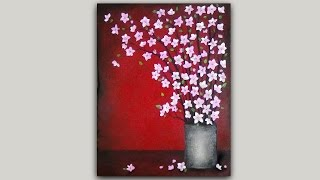 getlinkyoutube.com-Acrylic Painting Cherry Blossom Branches in a Pewter Vase Timelapse
