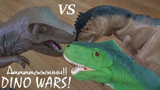 getlinkyoutube.com-Dinosaur RC Toys: Dinosaur WAR! T-Rex VS T-Rex VS T-Rex VS Triceratops! :-)